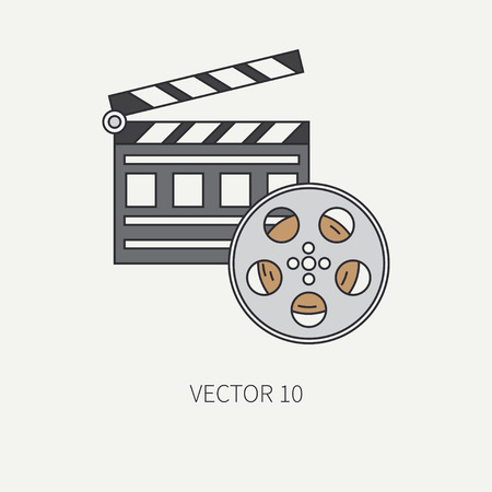bobbin: Line flat color icon elements of filmmaking - 35mm film bobbin , clapperboard. Cartoon style. Cinema.  illustration and element for your design , wallpaper. Collection. Video equipment.
