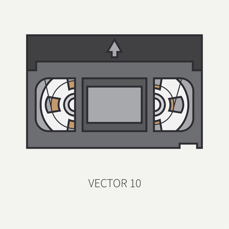 screenplay: Line flat color icon elements of filmmaking and multimedia video tape. Cartoon style. Cinema. illustration and element for your design , wallpaper. Collection. Screenplay. Movie. Analog.
