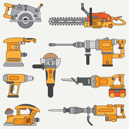 Line flat icon set with building electrical tools. Construction and repair work. Powerful industrial instrument. Cartoon style. illustration , element for your design. Engineering. Work.
