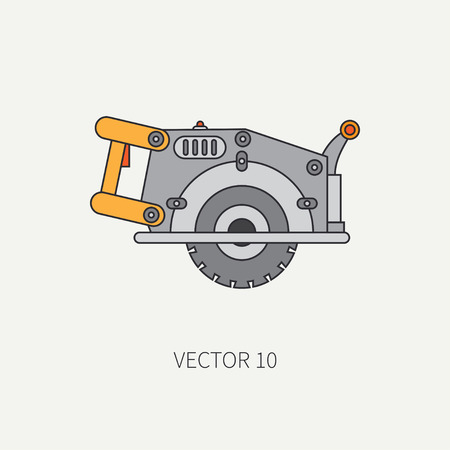 Line flat icon with building electrical tool - circular saw . Construction and repair work. Powerful industrial instrument. Cartoon style. Illustration , element for your design. Engineering.