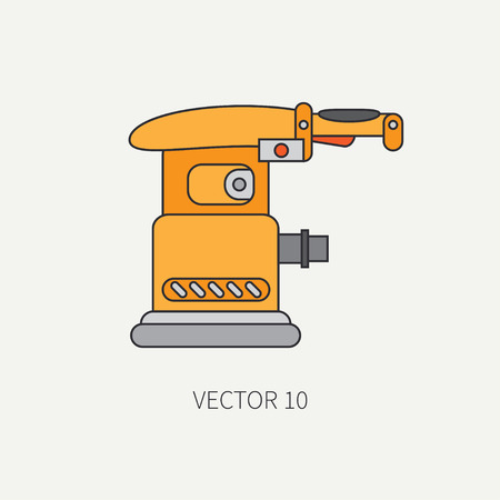 polisher: Line flat icon with building electrical tool - polisher. Construction and repair work. Powerful industrial instrument. Cartoon style. Illustration , element for your design. Engineering. Work.