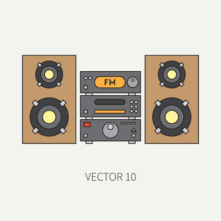 nostalgia: Line flat icon with retro electrical audio device block stereo. Analog broadcast. Music. Cartoon style. Nostalgia musical equipment. illustration , element for your design. Receiver. Cd. Illustration