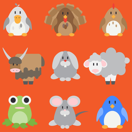 Flat color  icon set with cute animals for baby products. Cartoon style. Babyhood. Newborn.Collection. Zoo. Kids. Illustration