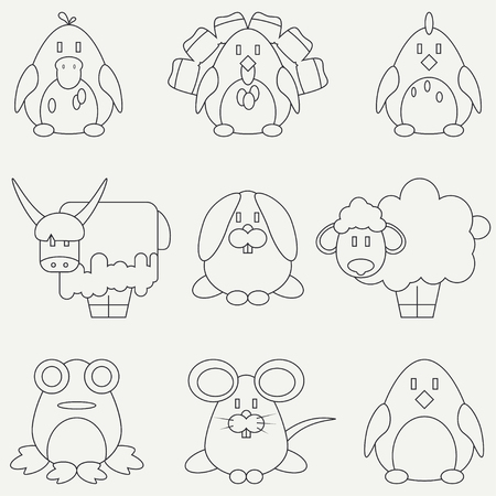 Line flat monochrome icon set with cute animals for baby products. Cartoon style.  Babyhood. Newborn. element for your design, wallpaper.