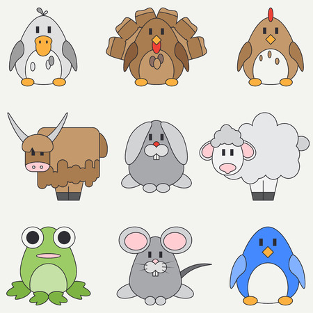 Line flat color vector icon set with cute animals for baby products. Cartoon style. Childrens doodle. Babyhood. Newborn. Vector illustration and element for your design, wallpaper. Collection. Zoo. 向量圖像