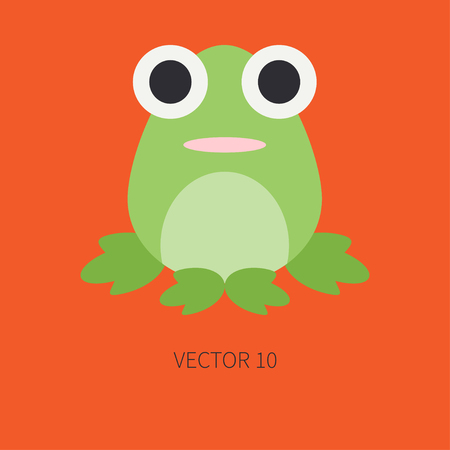 anuran: Flat color icon with cute animal for baby products - frog. Cartoon style.Babyhood. Newborn.