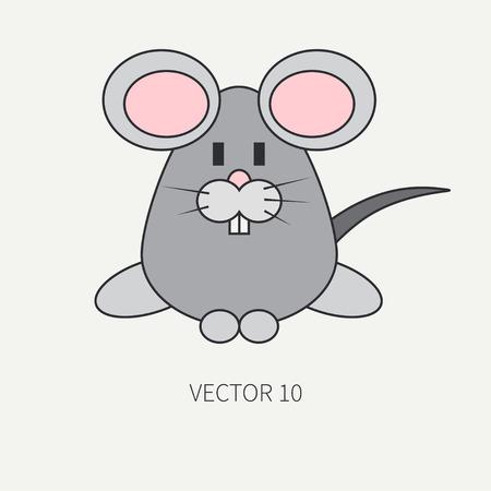 Icono Línea Plana Del Color Del Vector Con El Animal Lindo De ...