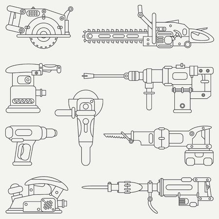 Line flat vector icon set with building electrical tools. Construction and repair work. Powerful industrial instrument. Cartoon style. Vector illustration , element for your design. Engineering. Work.