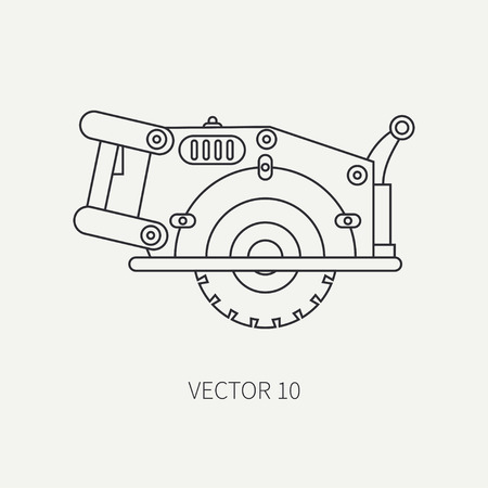 circular saw: Line flat vector icon with building electrical tool - circular saw . Construction and repair work. Powerful industrial instrument. Cartoon style. Illustration , element for your design. Engineering.