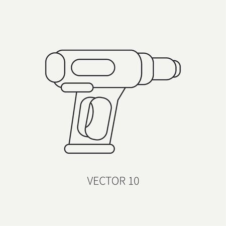 soldering: Line flat vector icon with building electrical tool dryer. Construction and repair work. Powerful industrial instrument. Cartoon style. Illustration , element for your design. Engineering. Soldering. Illustration