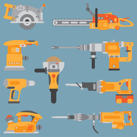 Color flat vector icon set with building electric tools. Construction and repair work. Powerful industrial instrument. Cartoon style. Vector illustration , element for your design. Engineering. Work.