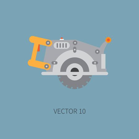 Color flat vector icon with building electrical tool - circular saw . Construction and repair work. Powerful industrial instrument. Cartoon style. Illustration , element for your design. Engineering.