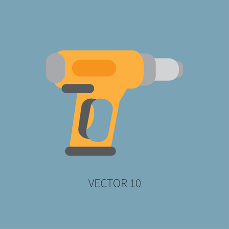 soldering: Color flat vector icon with building electrical tool dryer. Construction and repair work. Powerful industrial instrument. Cartoon style. Illustration , element for your design. Engineering. Soldering. Illustration