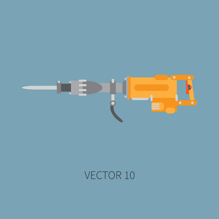 presslufthammer: Color flat vector icon with building electrical tool jackhammer. Construction and repair work. Powerful industrial instrument. Cartoon style. Illustration , element for your design. Engineering. Toil.