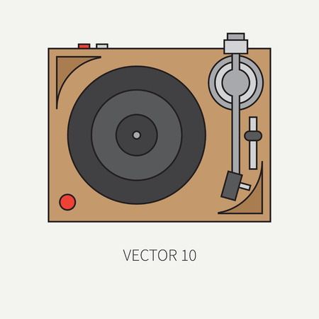 nostalgia: Line flat vector icon with retro electrical audio device vinyl record-player. Analog music. Cartoon style. Nostalgia musical equipment. Vector illustration , element for your design. Broadcast. Dj. Illustration