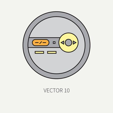 portable audio: Line flat  icon with retro electrical audio device portable cd player. Digital music. Cartoon style. Nostalgia musical equipment.  element for your design. Loud. Hi-fi. Illustration