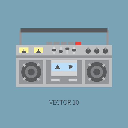 boombox: Color flat  icon with retro electrical audio device boombox. Analog broadcast. Music. Cartoon style. Nostalgia musical equipment.  element for your design. Receiver. Stereo.
