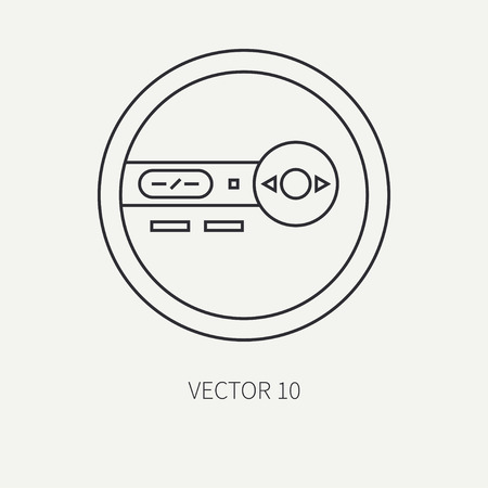 portable audio: Line flat vector icon with retro electrical audio device portable cd player. Digital music. Cartoon style. Nostalgia musical equipment. Vector illustration , element for your design. Loud. Hi-fi.
