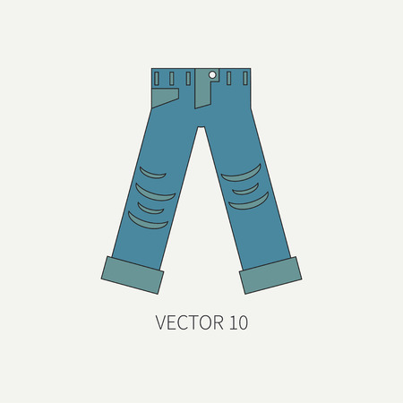 punk rock: Line flat color vector icon wear - ripped jeans. Punk rock style. Illustration texture for design, wallpaper.