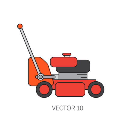 Line flat color vector icon garden tool - lawn mower. Cartoon style. Vector illustration and element for your design , wallpaper.