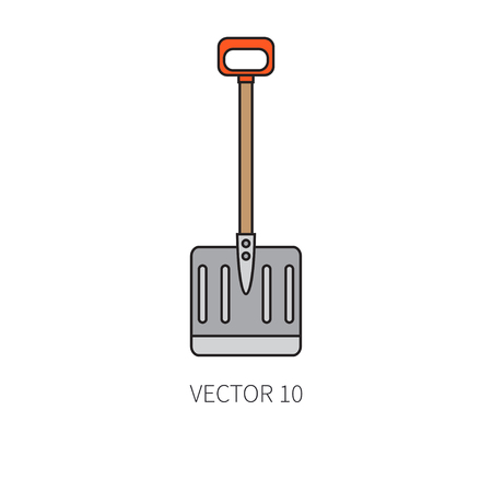 loosen: Line flat color vector icon garden tool - shovel. Cartoon style. Vector illustration and element for your design , wallpaper.