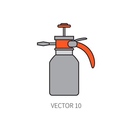 Line flat color vector icon garden tool - sprayer. Cartoon style. Vector illustration and element for your design , wallpaper. Illustration