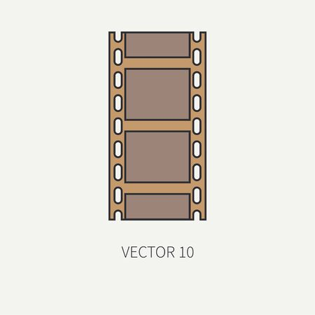 screenplay: Line flat color vector icon elements of filmmaking and multimedia - 35mm film. Cartoon style. Cinema. Vector illustration and element for your design , wallpaper. Collection. Screenplay. Movie. Film. Illustration