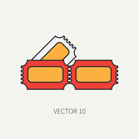 Line flat color vector icon elements of filmmaking and movie theater - ticket. Cartoon style. Cinema. Vector illustration and element for your design , wallpaper. Collection. Screenplay. Movie.