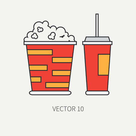 screenplay: Line flat color vector icon elements of movie theater pop culture - popcorn, cola. Cartoon style. Cinema. Vector illustration and element for your design , wallpaper. Collection. Screenplay. Movie. Illustration