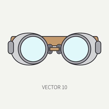 pulverizer: Line flat color vector icon of drawing instruments for aerography - safety goggles. Cartoon style. Drawing. Airbrush. Art. Illustration and element for design. Clipart. Industrial. Safety. Logo.