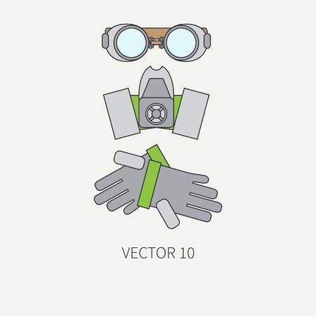 Línea icono del vector de color plano de los instrumentos de dibujo para aerografía - respirador, gafas protectoras, guantes. estilo de dibujos animados. Aerógrafo. Ilustración y el elemento de diseño. clipart industrial. Art. Logo.