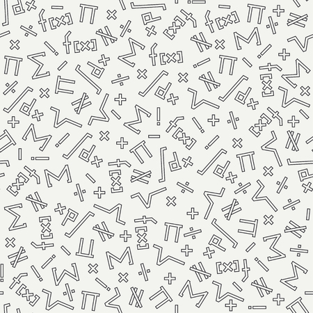 differential: Flat monochrome vector seamless mathematical motif pattern. Fabric textile elements. Cute doodle with algebraic expressions and symbols. Vector illustration , element for design. Science. Knowledge. Illustration