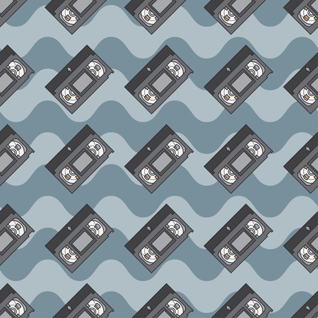 videocassette: Flat color vector seamless pattern videocassette. Fabric textile elements. Cute doodle with analog multimedia. Vector illustration, element for design. Retro. Interference. Television. Magnetic tape.