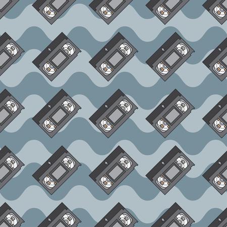 videocassette: vectores de color plana patrón transparente cinta de vídeo. elementos textiles de tela. Lindo dibujo con multimedia analógica. ilustración vectorial, elemento de diseño. Retro. Interferencia. Televisión. Cinta magnética.