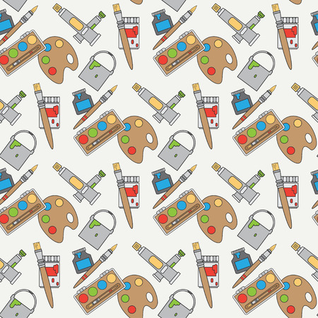 oil paints: Flat color vector seamless pattern with palette, cans, oil paints, gouache, brush, spatula. Cartoon style. Art. Vector illustration , element for your design and wallpaper. Fabric textile. Draw.