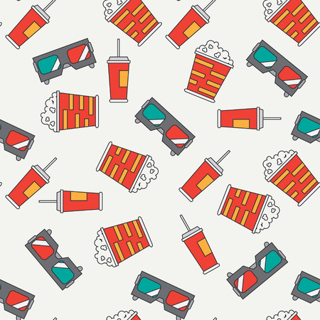 cinematography: Flat color vector seamless pattern with popcorn bucket, 3D glasses, cola. Cartoon style. Cimena and multimedia. Vector illustration , element for your design and wallpaper. Cinematography. Snack.