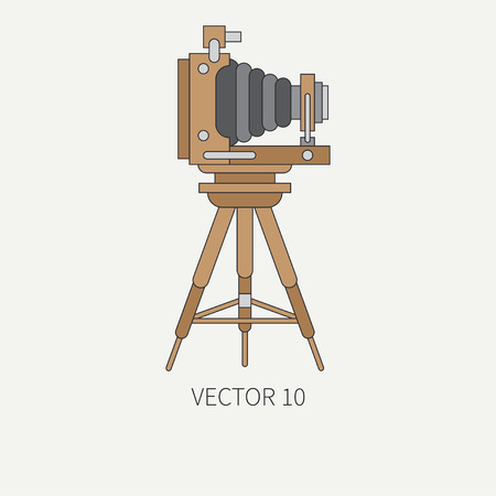Line flat vector icon with retro analog film cameras. Photography and art. Reflex 35mm photocamera. Cartoon style. Illustration, element for your design. Photographic lens. Simple. Color. Shoot. Lens.