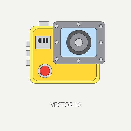 Line flat vector icon with digital action camera. Photography and art. Megapixel photocamera. Cartoon style. Illustration , element for your design. Photographic lens. Simple. Creativity. Shock-proof.