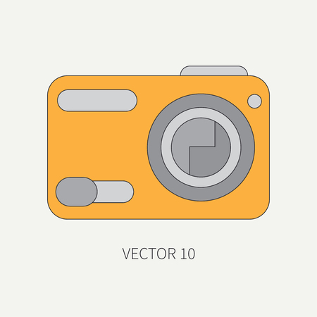 Line flat vector icon with digital mini camera. Photography and art. Megapixel photocamera. Cartoon style. Illustration , element for your design. Photographic lens. Simple. Color. Creativity. Shoot.
