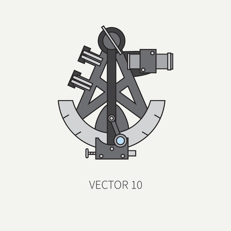 naval: Line flat vector color marine icon with nautical design elements - retro sextant. Cartoon style. Illustration , element for your design. Sea adventures. Ocean. Naval. Navigation. Maritime. Vintage.