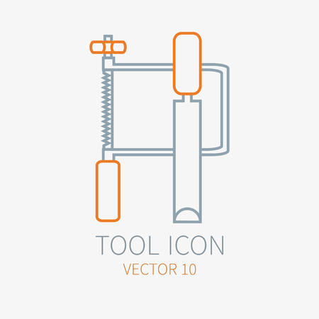 Line working color jig saw with chisel for construction building and home repair icon. Vector illustration for design. Hand work tool. Industrial cartoon style. Simple. Pictogram. Service. Equipment. Illustration