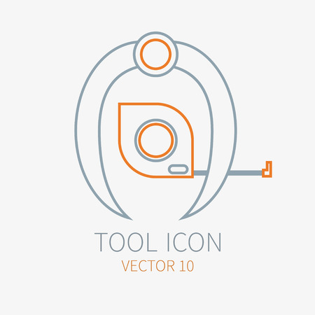 Line working color divider with measuring tape for construction building and home repair icon. Vector illustration for design. Hand work tool. Industrial cartoon style. Pictogram. Service. Equipment. Illustration