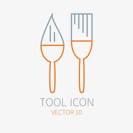 Line working color brush for construction, building and home repair icon. Vector illustration for design. Hand work tool. Industrial cartoon style. Simple. Pictogram. Service. Equipment. Item
