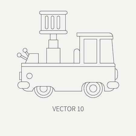 auto hoist: Line flat plain vector icon service staff car with hydraulic lift. Commercial vehicle. Cartoon vintage style. Cargo transportation. Maintenance. Tow auto. Illustration and element for your design. Illustration