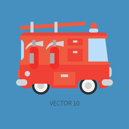 Plain flat vector color icon fire truck. Emergency assistance vehicle. Cartoon style. Fireman. Maintenance. Rescue. Fire department. Extinguisher. Siren. Road. Illustration and element for your design Illustration