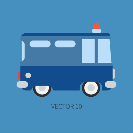 Plain flat vector color icon police truck. Special purpose assistance vehicle. Cartoon style. Maintenance. Rescue, security. Police department. Siren van. Law. Illustration and element for your design