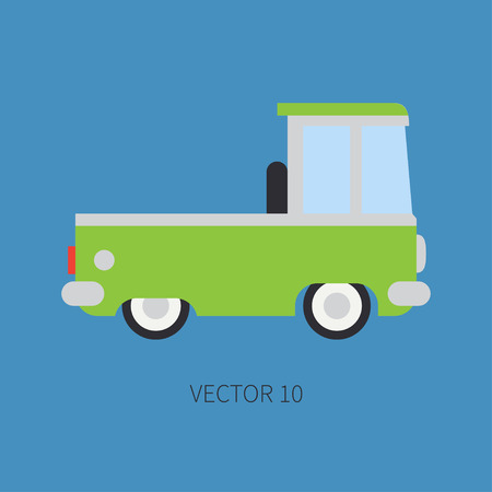 Plain flat vector color icon service staff car. Commercial vehicle. Cartoon vintage style. Cargo transportation. Pickup rural truck. Tow auto. Simple. Childly. Illustration and element for your design