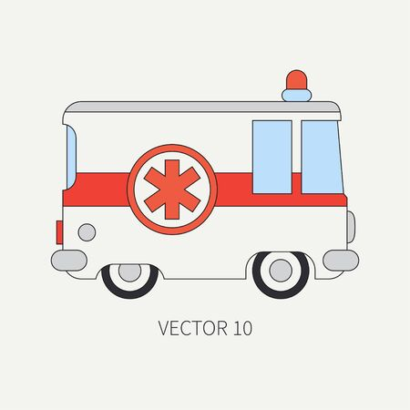 firstaid: Line flat vector color icon ambulance car. Emergency assistance vehicle. Cartoon style. Reanimation. Maintenance. Paramedics. Medicine. Hospital. Rescue. Illustration and element for your design. Road