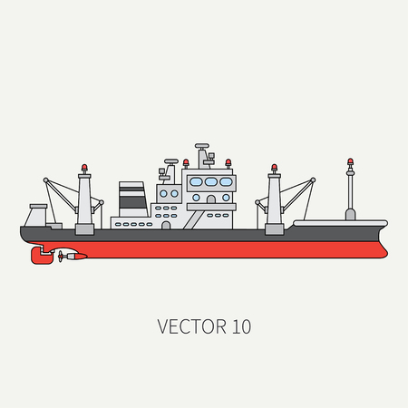 fishing fleet: Line flat vector color icon comercial trawler ship. Illustration