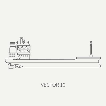 Line flat vector retro icon container cargo ship.